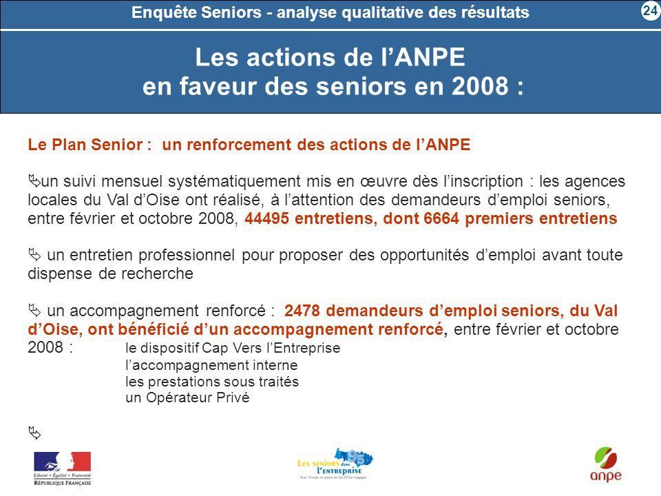 Enquête Seniors - analyse qualitative des résultats Le Plan Senior : un renforcement des actions de lANPE un suivi mensuel systématiquement mis en œuv