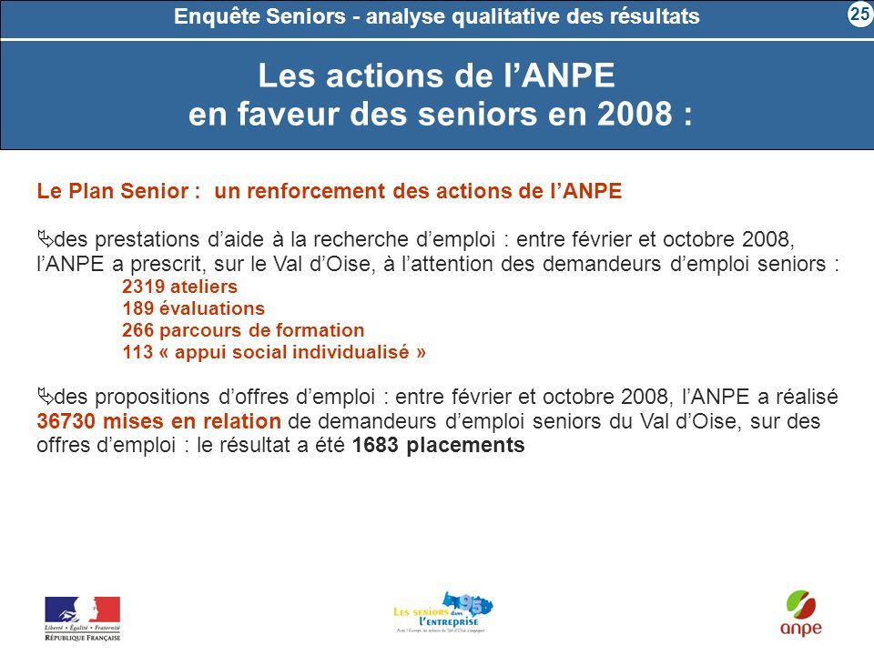 Enquête Seniors - analyse qualitative des résultats Le Plan Senior : un renforcement des actions de lANPE des prestations daide à la recherche demploi