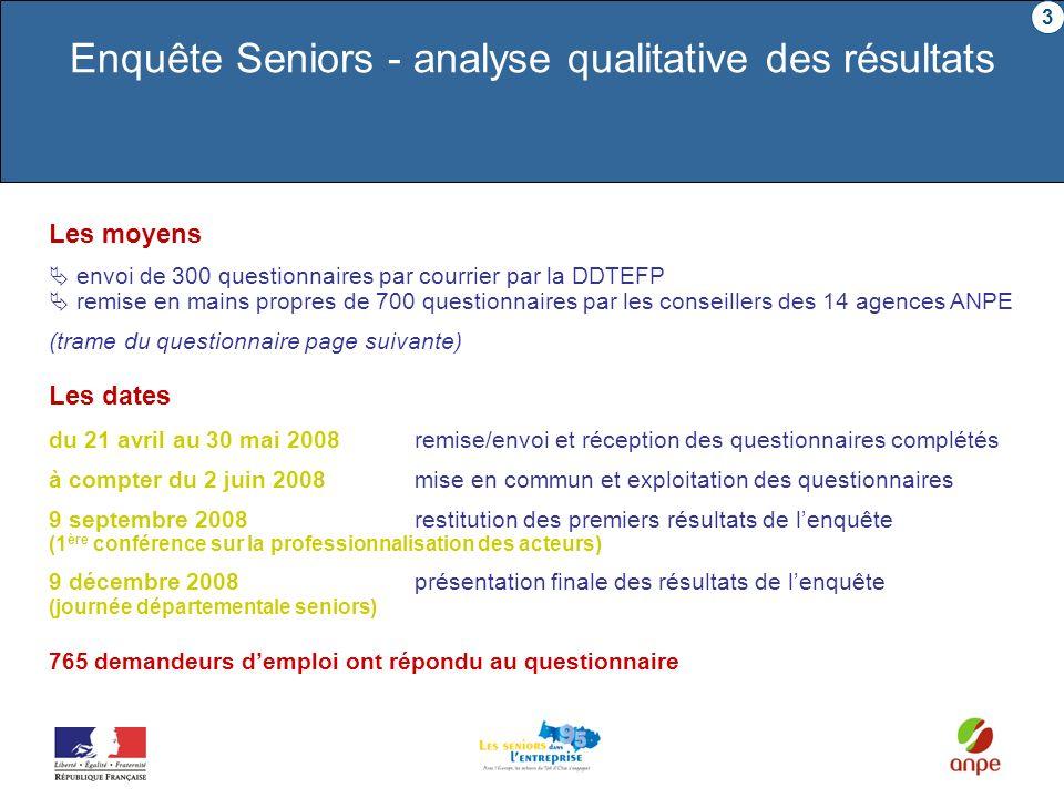 Les moyens envoi de 300 questionnaires par courrier par la DDTEFP remise en mains propres de 700 questionnaires par les conseillers des 14 agences ANP