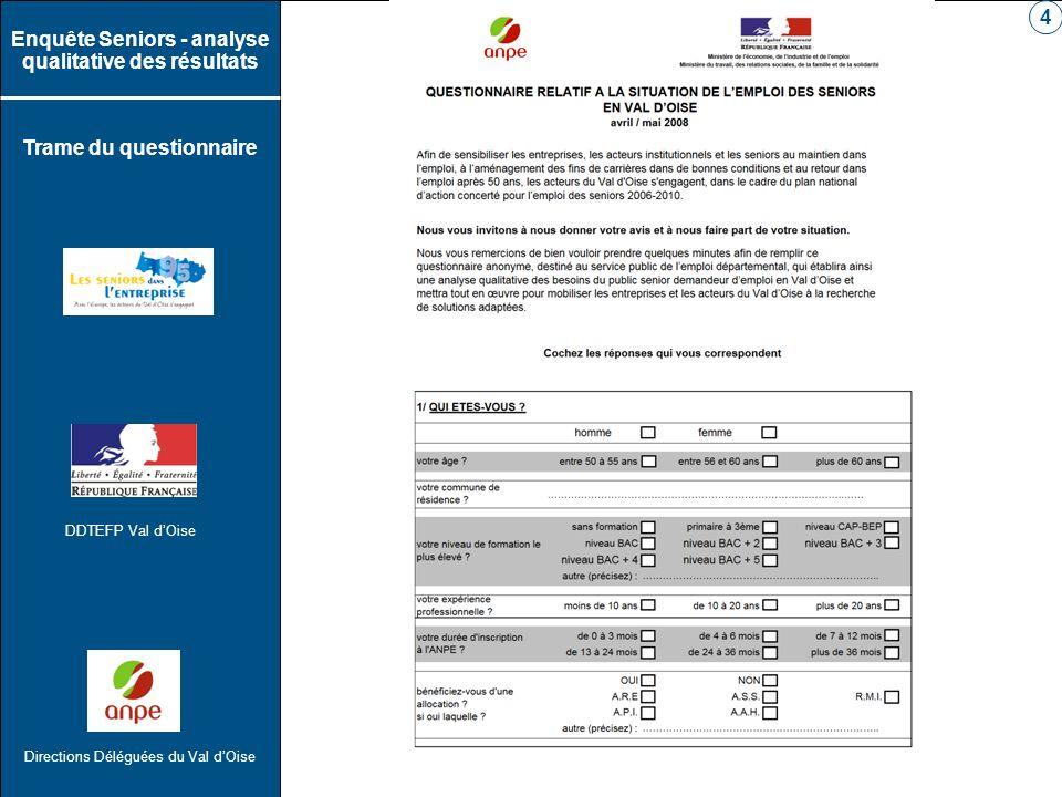 DDTEFP Val dOise Directions Déléguées du Val dOise Enquête Seniors - analyse qualitative des résultats Trame du questionnaire 5