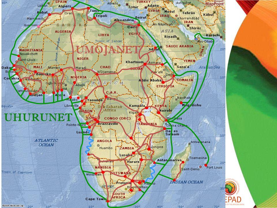4 4 Objectifs de développement 1.Réduire le coût des communications 2.Assurer à lAfrique des communications fiables et sûres Différences de coûts de communication : Coût mensuel E1 : Pays développés10-20 USD Moyenne africaine4 000 USD Développement dun cadre politique et réglementaire Le développement dun environnement politique et réglementaire transparent est nécessaire afin de : 1.Lever les barrières réglementaires à létablissement du réseau transfrontalier 2.Déterminer une structure pour un pourvoyeur de services autorisé 3.Encourager un investissement large du secteur privé dans le réseau