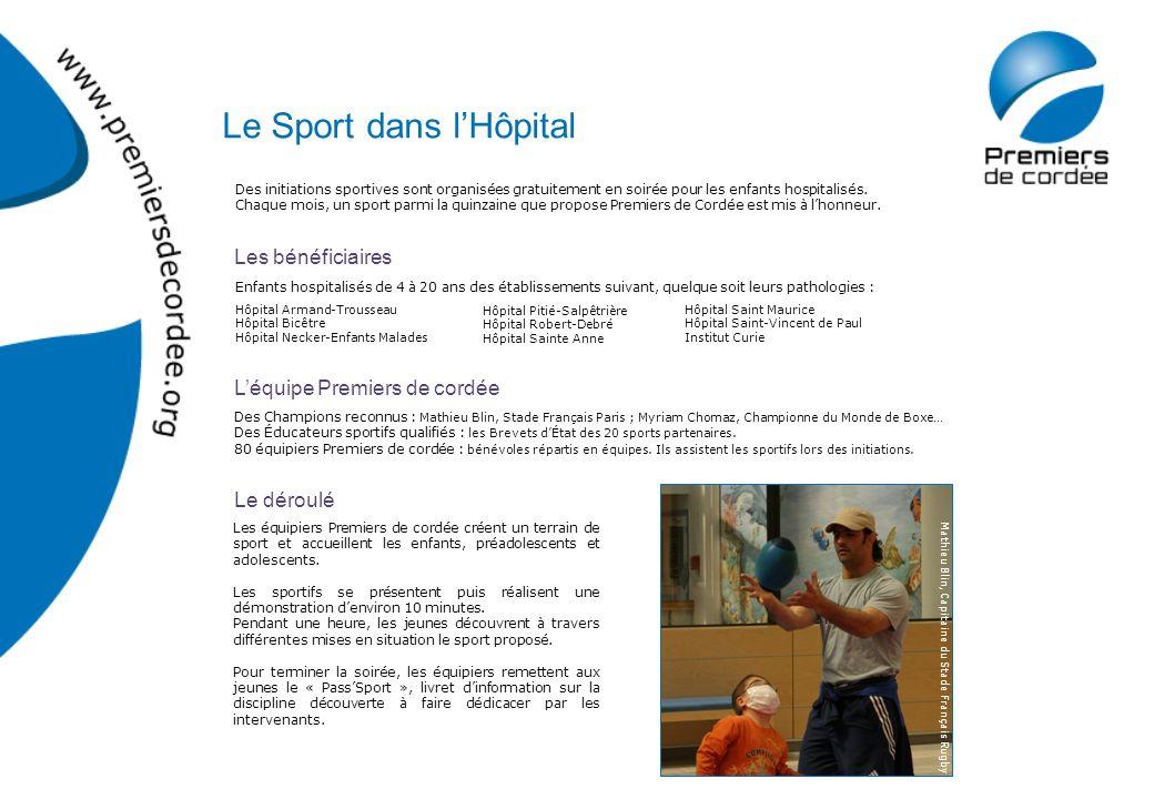 Les bénéficiaires Des initiations sportives sont organisées gratuitement en soirée pour les enfants hospitalisés. Chaque mois, un sport parmi la quinz