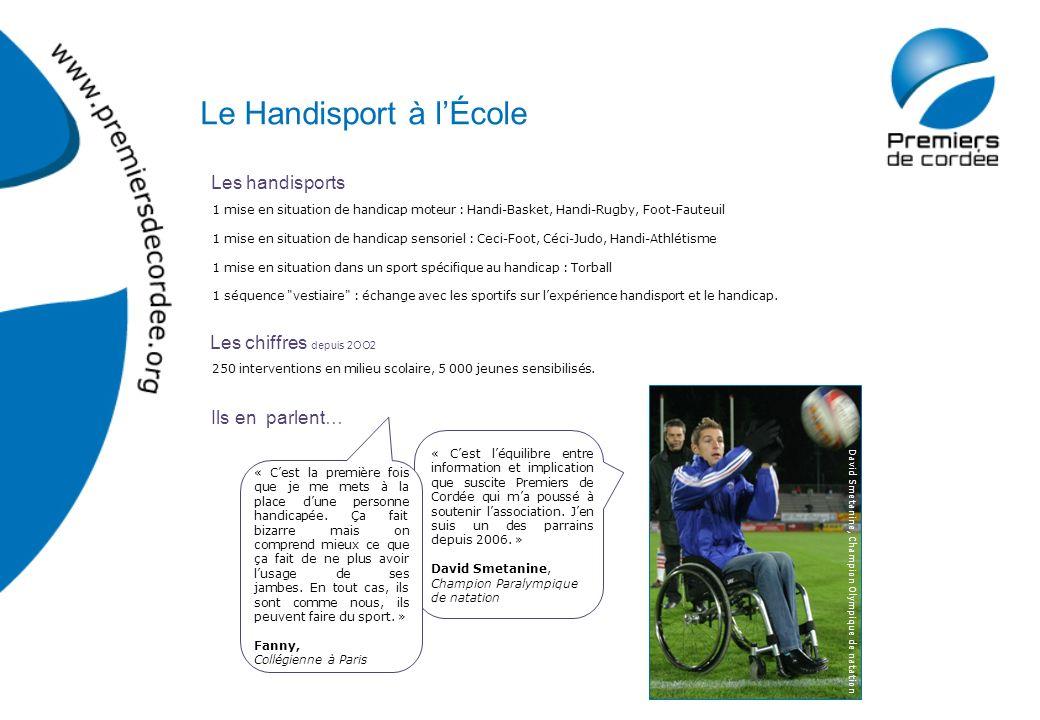 Les handisports Les chiffres depuis 2OO2 Ils en parlent… 1 mise en situation de handicap moteur : Handi-Basket, Handi-Rugby, Foot-Fauteuil 1 mise en s
