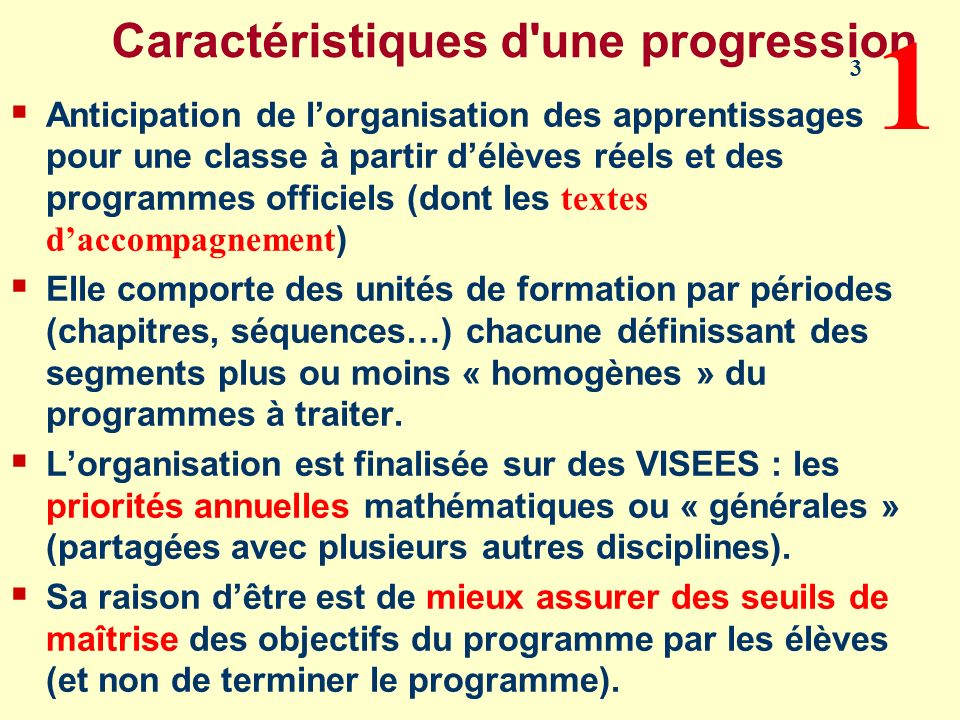 Caractéristiques d'une progression Anticipation de lorganisation des apprentissages pour une classe à partir délèves réels et des programmes officiels