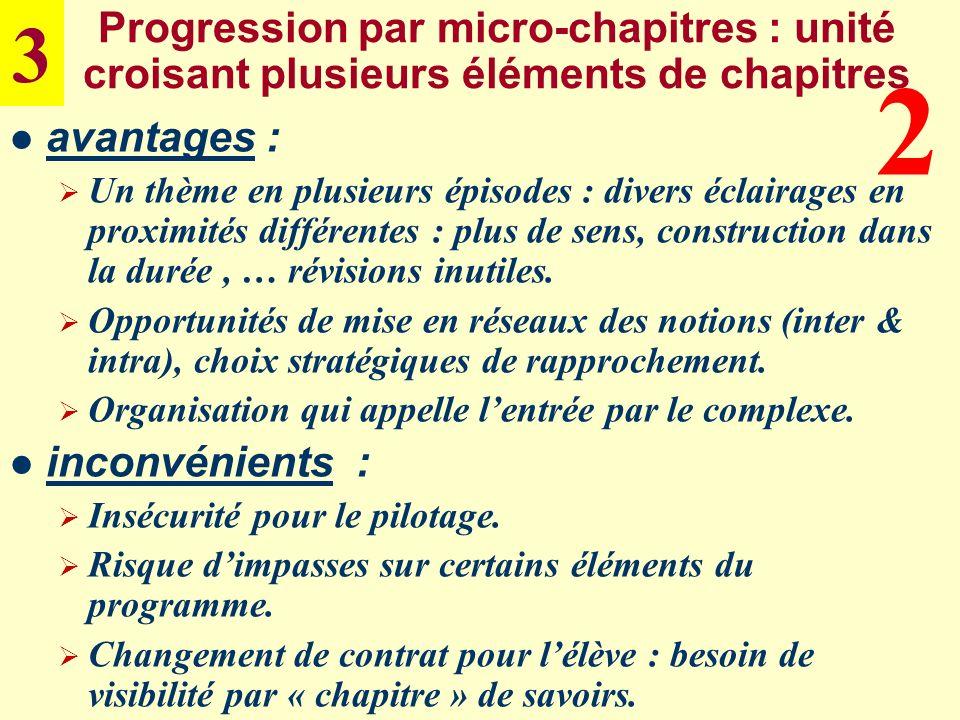 Progression par micro-chapitres : unité croisant plusieurs éléments de chapitres avantages : Un thème en plusieurs épisodes : divers éclairages en pro