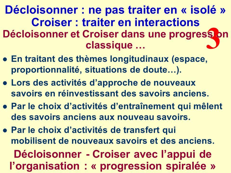 Décloisonner : ne pas traiter en « isolé » Croiser : traiter en interactions Décloisonner et Croiser dans une progression classique … En traitant des