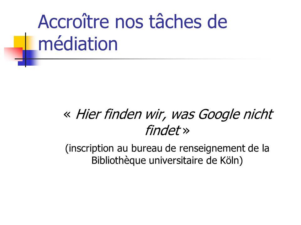 Accroître nos tâches de médiation « Hier finden wir, was Google nicht findet » (inscription au bureau de renseignement de la Bibliothèque universitaire de Köln)