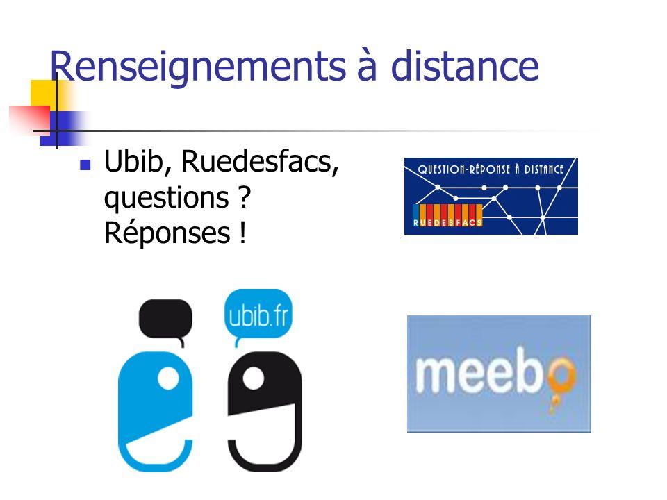 Renseignements à distance Ubib, Ruedesfacs, questions Réponses !