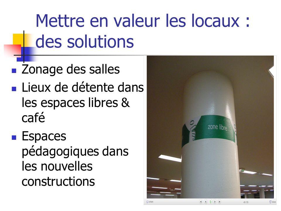 Mettre en valeur les locaux : des solutions Zonage des salles Lieux de détente dans les espaces libres & café Espaces pédagogiques dans les nouvelles constructions