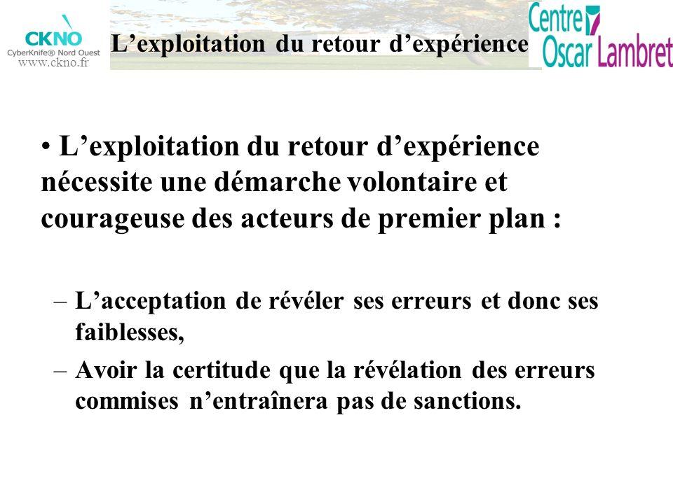www.ckno.fr Lexploitation du retour dexpérience nécessite une démarche volontaire et courageuse des acteurs de premier plan : –Lacceptation de révéler