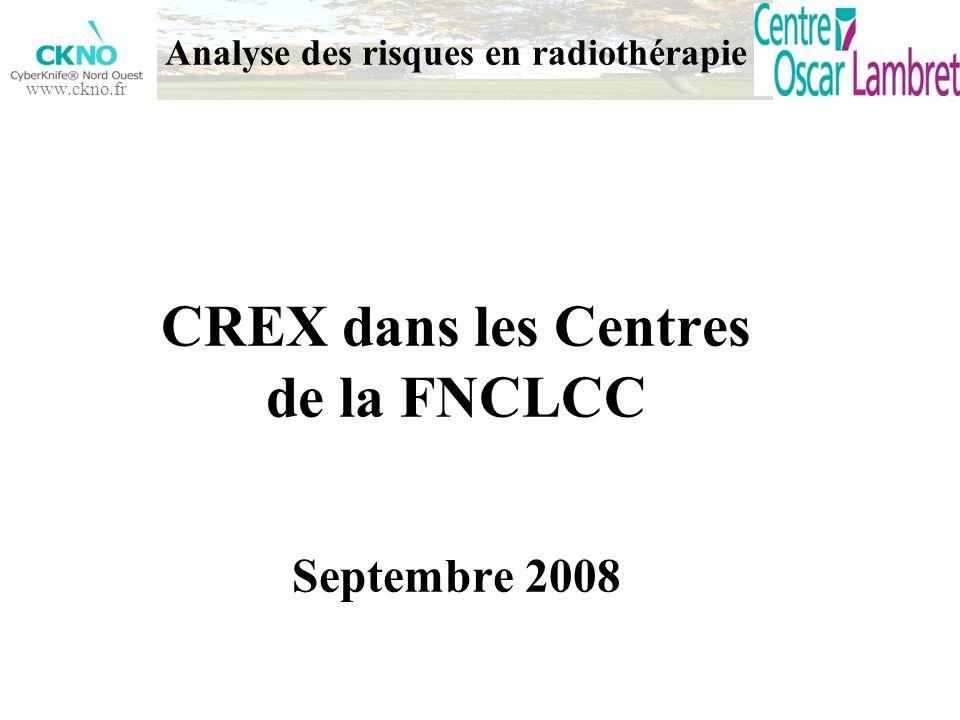 www.ckno.fr Analyse des risques en radiothérapie CREX dans les Centres de la FNCLCC Septembre 2008