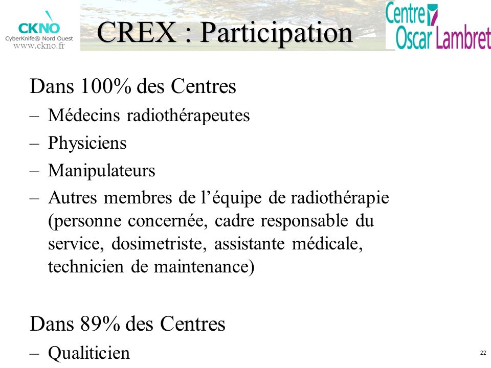 www.ckno.fr CREX : Participation Dans 100% des Centres –Médecins radiothérapeutes –Physiciens –Manipulateurs –Autres membres de léquipe de radiothérap
