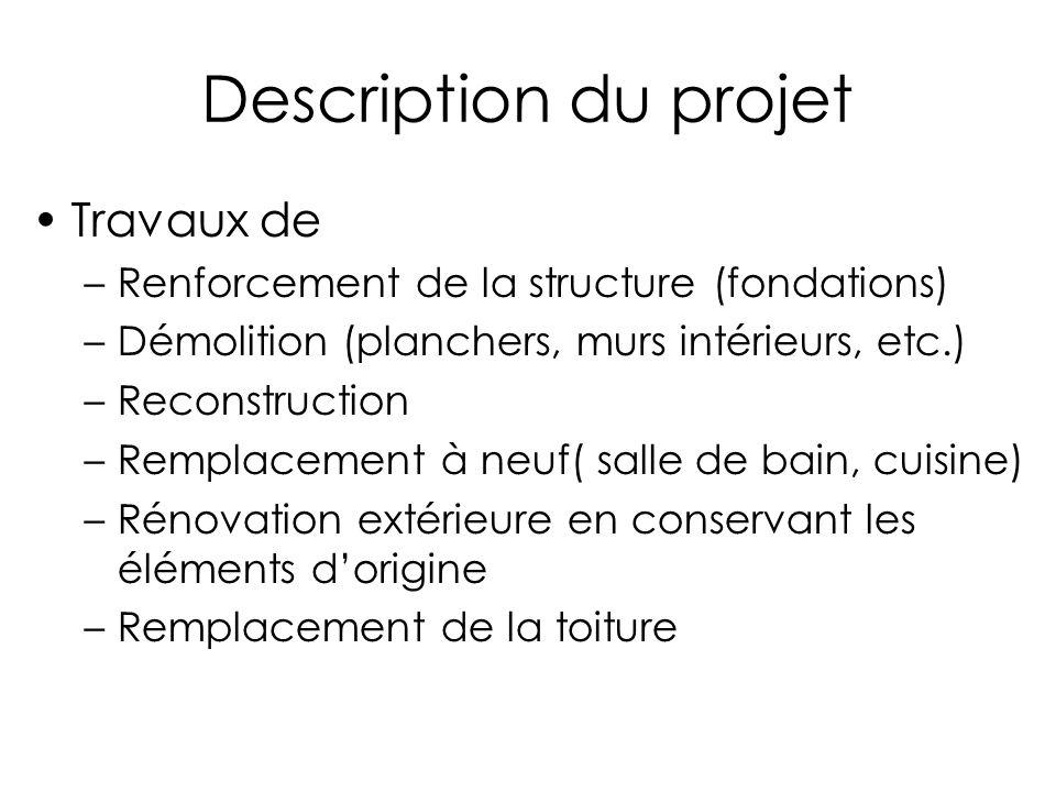 Description du projet Travaux de –Renforcement de la structure (fondations) –Démolition (planchers, murs intérieurs, etc.) –Reconstruction –Remplaceme