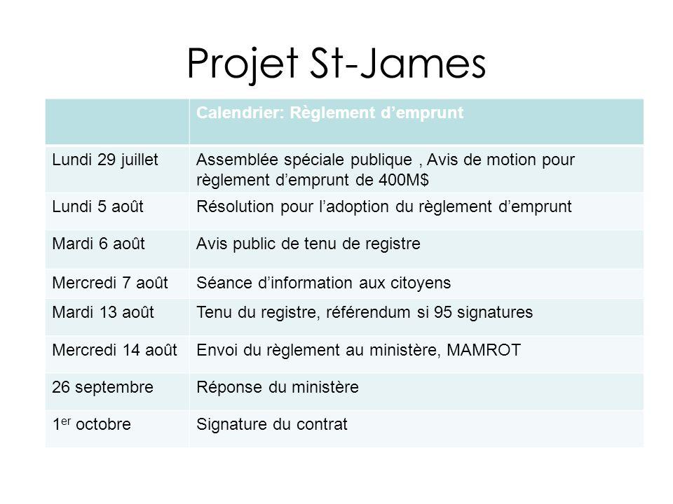 Projet St-James Calendrier: Règlement demprunt Lundi 29 juilletAssemblée spéciale publique, Avis de motion pour règlement demprunt de 400M$ Lundi 5 ao
