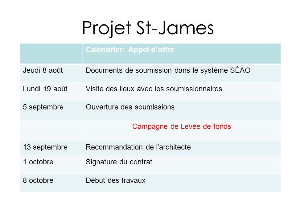 Projet St-James Calendrier: Appel doffre Jeudi 8 aoûtDocuments de soumission dans le système SÉAO Lundi 19 aoûtVisite des lieux avec les soumissionnai