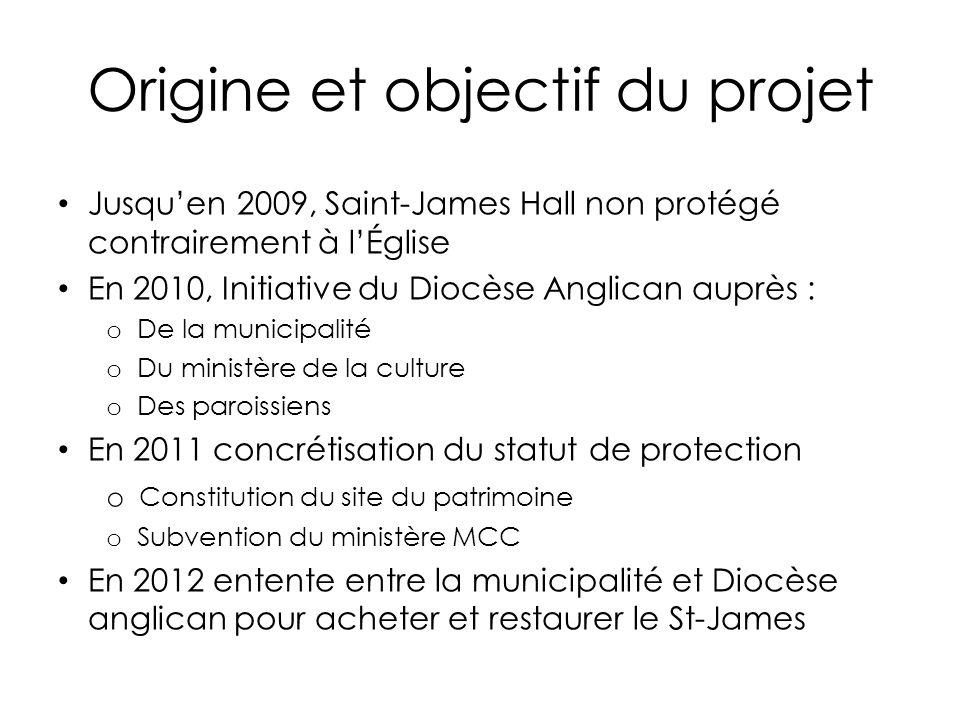 Origine et objectif du projet Jusquen 2009, Saint-James Hall non protégé contrairement à lÉglise En 2010, Initiative du Diocèse Anglican auprès : o De