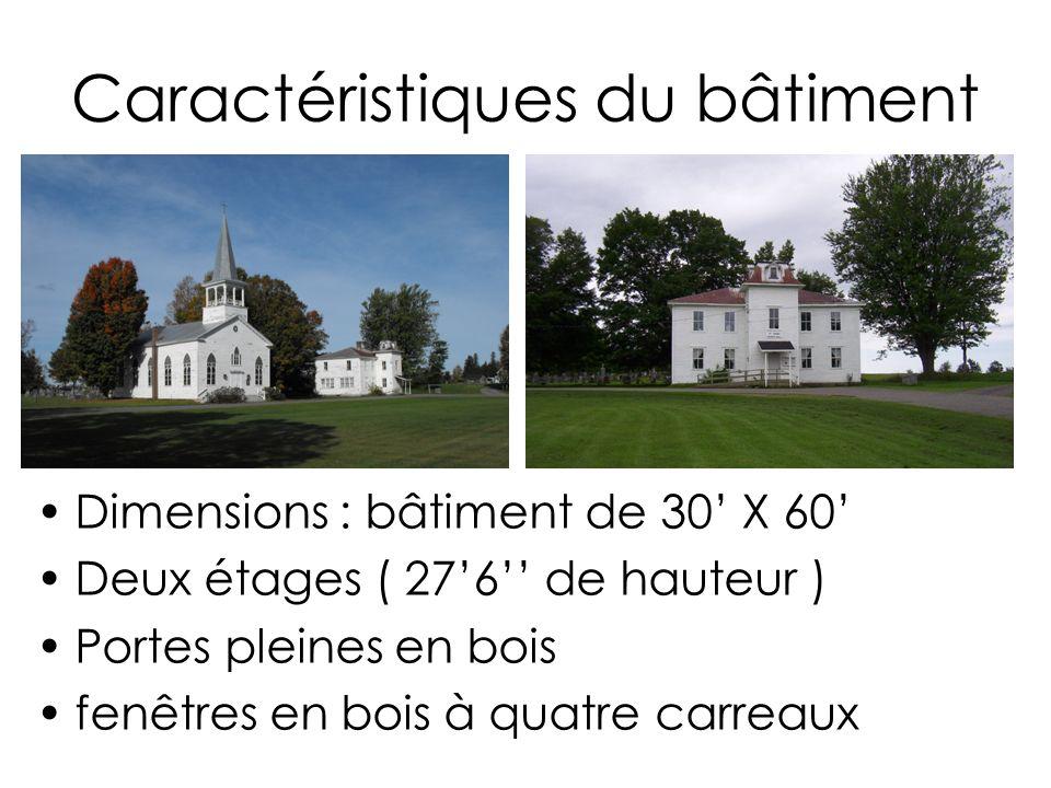 Caractéristiques du bâtiment Dimensions : bâtiment de 30 X 60 Deux étages ( 276 de hauteur ) Portes pleines en bois fenêtres en bois à quatre carreaux