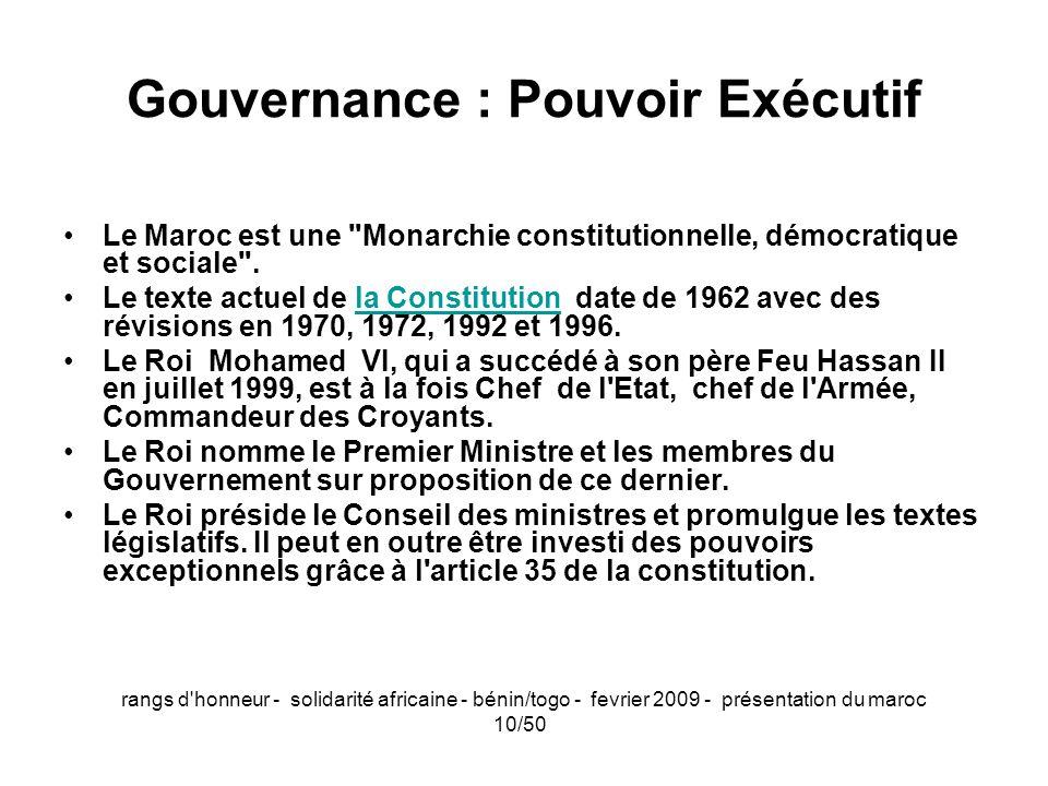 rangs d'honneur - solidarité africaine - bénin/togo - fevrier 2009 - présentation du maroc 10/50 Gouvernance : Pouvoir Exécutif Le Maroc est une