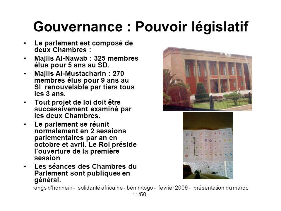 rangs d'honneur - solidarité africaine - bénin/togo - fevrier 2009 - présentation du maroc 11/50 Gouvernance : Pouvoir législatif Le parlement est com