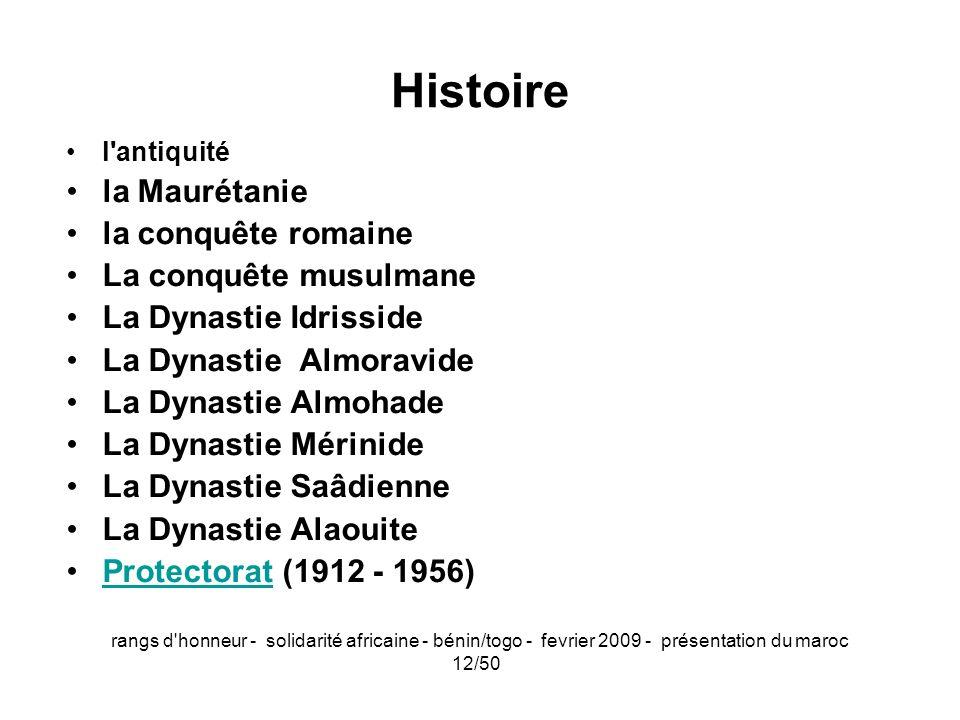 rangs d'honneur - solidarité africaine - bénin/togo - fevrier 2009 - présentation du maroc 12/50 Histoire l'antiquité la Maurétanie la conquête romain