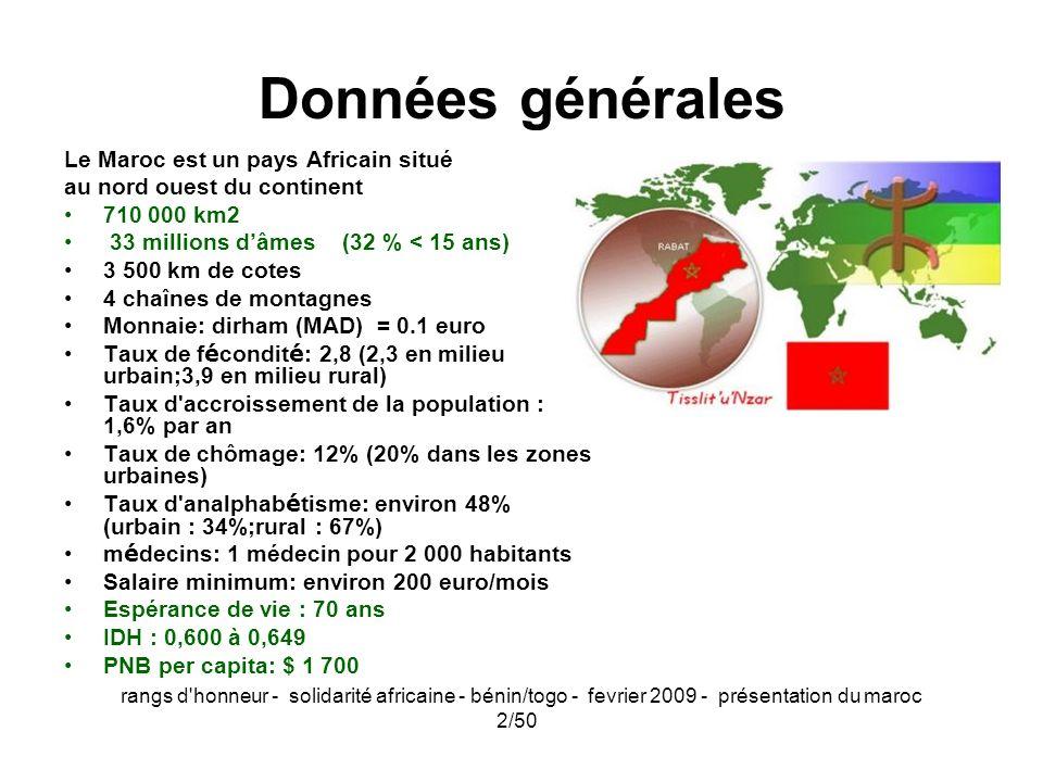 rangs d'honneur - solidarité africaine - bénin/togo - fevrier 2009 - présentation du maroc 2/50 Données générales Le Maroc est un pays Africain situé