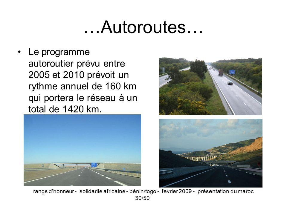 rangs d'honneur - solidarité africaine - bénin/togo - fevrier 2009 - présentation du maroc 30/50 …Autoroutes… Le programme autoroutier prévu entre 200