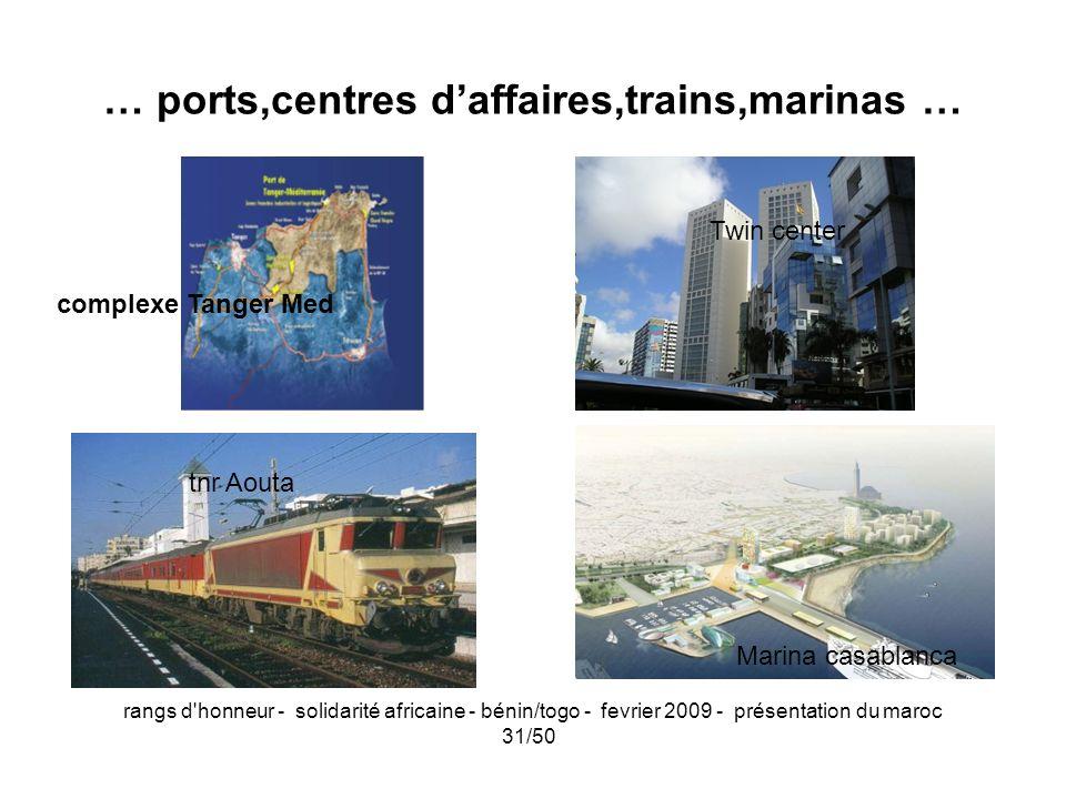 rangs d'honneur - solidarité africaine - bénin/togo - fevrier 2009 - présentation du maroc 31/50 … ports,centres daffaires,trains,marinas … Marina cas