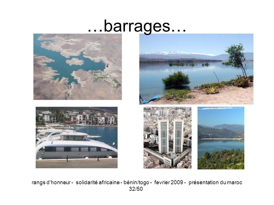 rangs d'honneur - solidarité africaine - bénin/togo - fevrier 2009 - présentation du maroc 32/50 …barrages…
