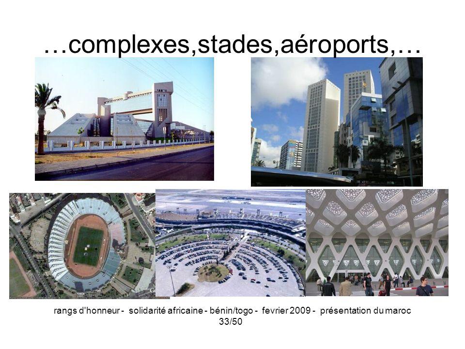 rangs d'honneur - solidarité africaine - bénin/togo - fevrier 2009 - présentation du maroc 33/50 …complexes,stades,aéroports,…