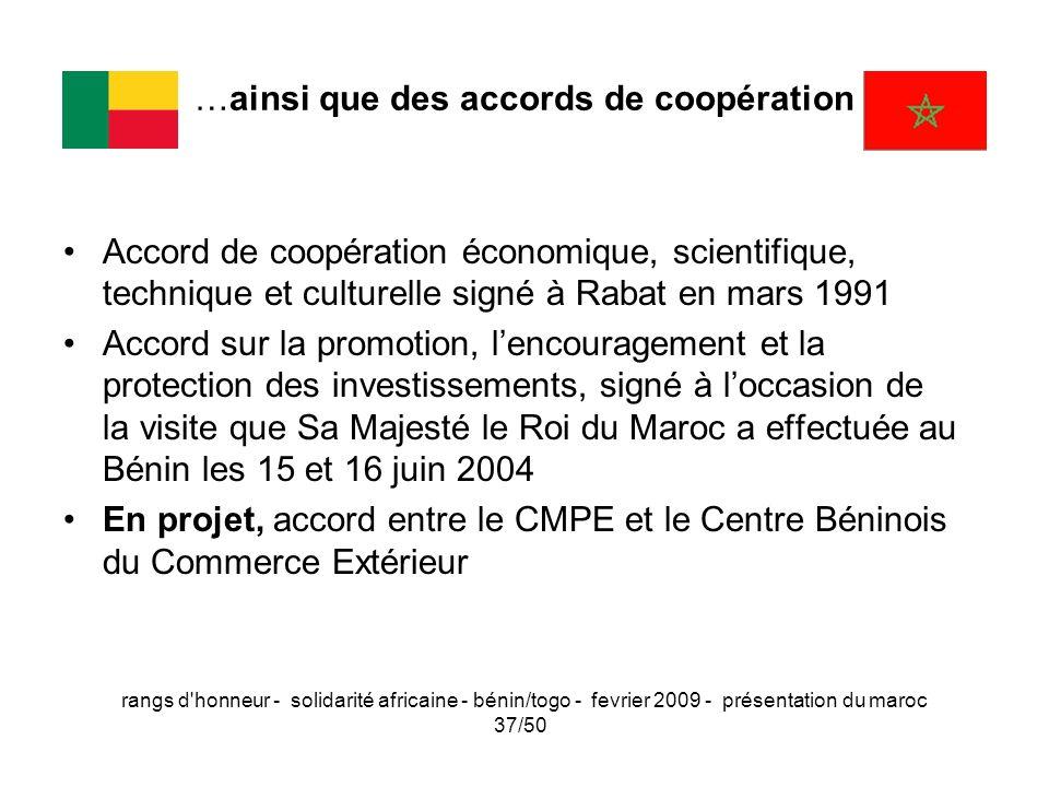 rangs d'honneur - solidarité africaine - bénin/togo - fevrier 2009 - présentation du maroc 37/50 …ainsi que des accords de coopération Accord de coopé
