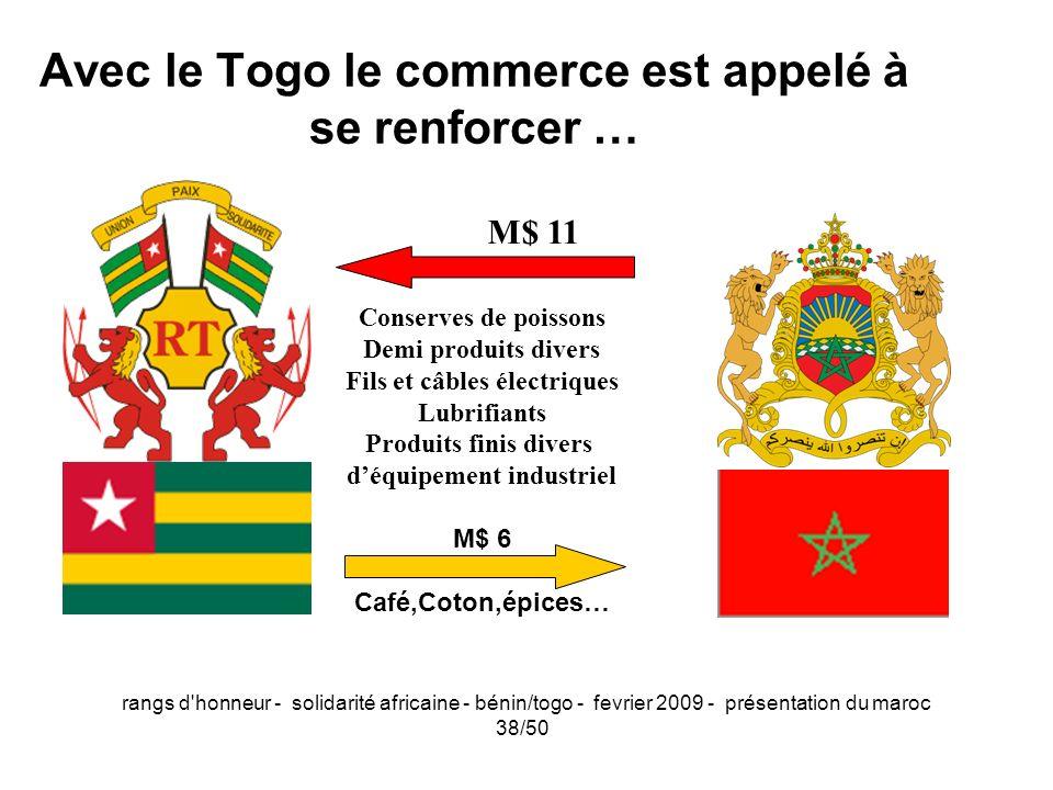 rangs d'honneur - solidarité africaine - bénin/togo - fevrier 2009 - présentation du maroc 38/50 M$ 11 Conserves de poissons Demi produits divers Fils