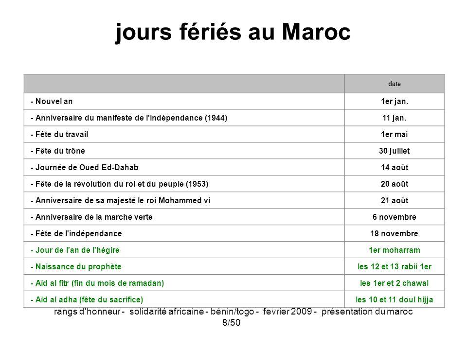 rangs d'honneur - solidarité africaine - bénin/togo - fevrier 2009 - présentation du maroc 8/50 jours fériés au Maroc date - Nouvel an1er jan. - Anniv