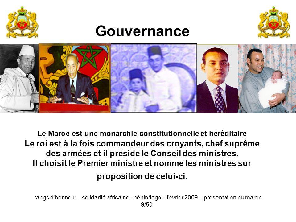 rangs d'honneur - solidarité africaine - bénin/togo - fevrier 2009 - présentation du maroc 9/50 Le Maroc est une monarchie constitutionnelle et hérédi