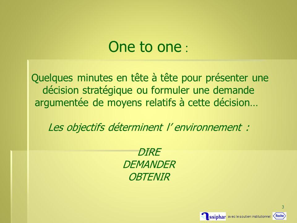 3 One to one : Quelques minutes en tête à tête pour présenter une décision stratégique ou formuler une demande argumentée de moyens relatifs à cette décision… Les objectifs déterminent l environnement : DIRE DEMANDER OBTENIR