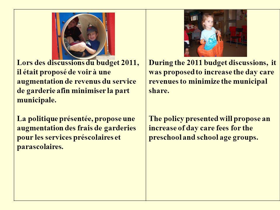 Lors des discussions du budget 2011, il était proposé de voir à une augmentation de revenus du service de garderie afin minimiser la part municipale.