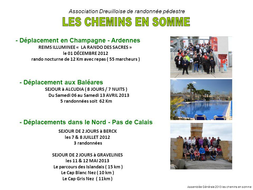 - Déplacement en Champagne - Ardennes Association Dreuilloise de randonnée pédestre - Déplacement aux Baléares - Déplacements dans le Nord - Pas de Ca