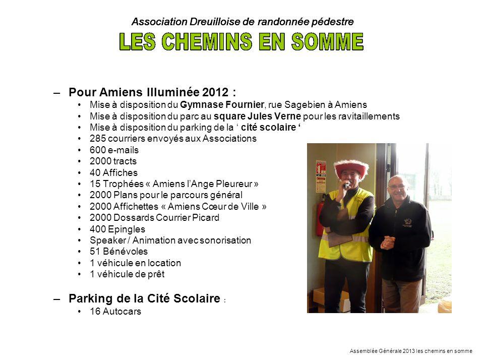 –Pour Amiens Illuminée 2012 : Mise à disposition du Gymnase Fournier, rue Sagebien à Amiens Mise à disposition du parc au square Jules Verne pour les