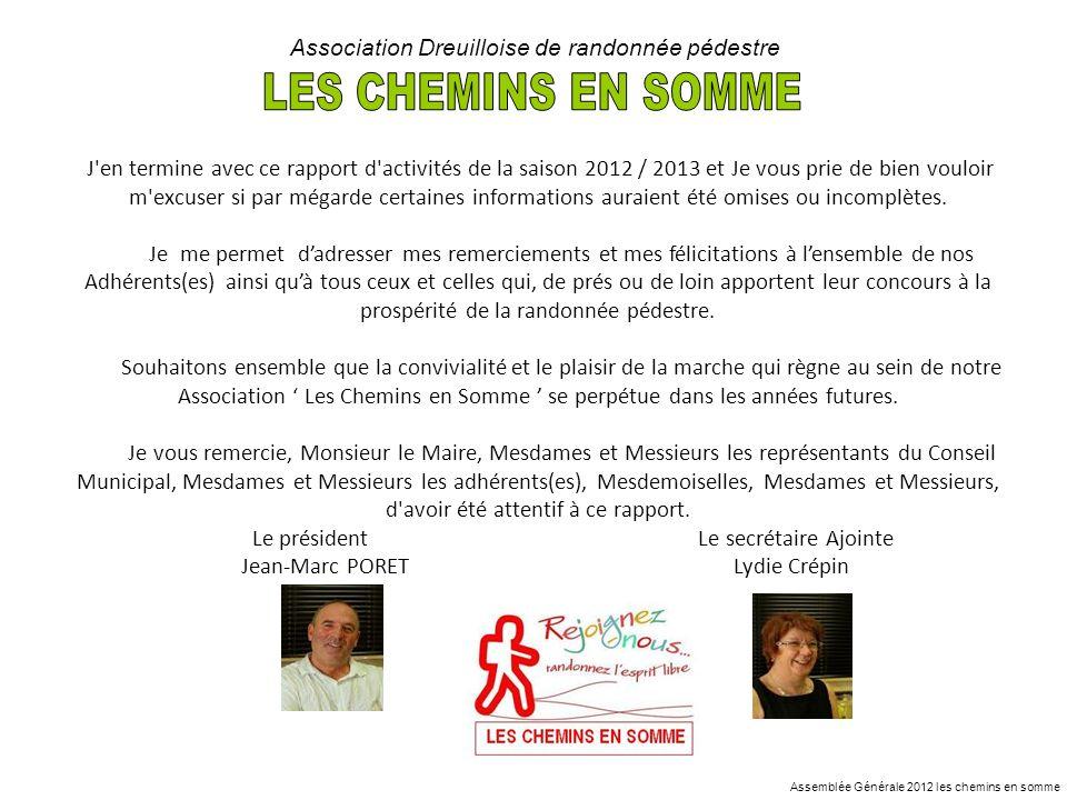 Assemblée Générale 2012 les chemins en somme Association Dreuilloise de randonnée pédestre J'en termine avec ce rapport d'activités de la saison 2012