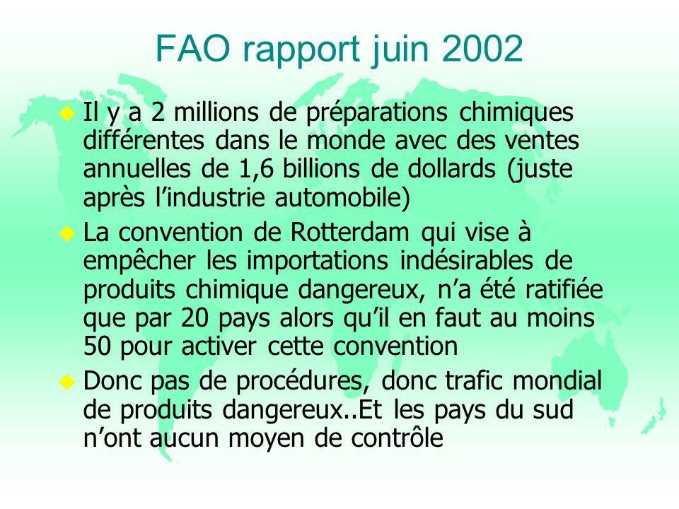 FAO rapport juin 2002 u Il y a 2 millions de préparations chimiques différentes dans le monde avec des ventes annuelles de 1,6 billions de dollards (j