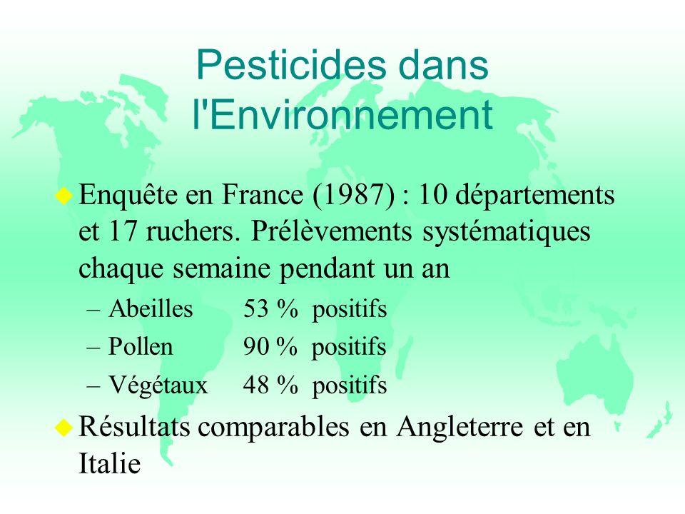 Pesticides dans l'Environnement u Enquête en France (1987) : 10 départements et 17 ruchers. Prélèvements systématiques chaque semaine pendant un an –A