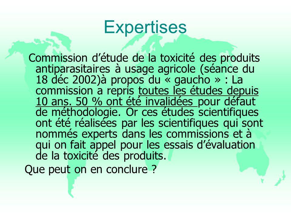 Expertises Commission détude de la toxicité des produits antiparasitaires à usage agricole (séance du 18 déc 2002)à propos du « gaucho » : La commissi