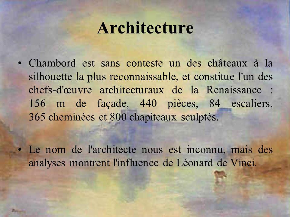 Architecture Chambord est sans conteste un des châteaux à la silhouette la plus reconnaissable, et constitue l'un des chefs-d'œuvre architecturaux de