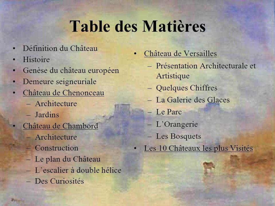 Table des Matières Définition du Château Histoire Genèse du château européen Demeure seigneuriale Château de Chenonceau –Architecture –Jardins Château