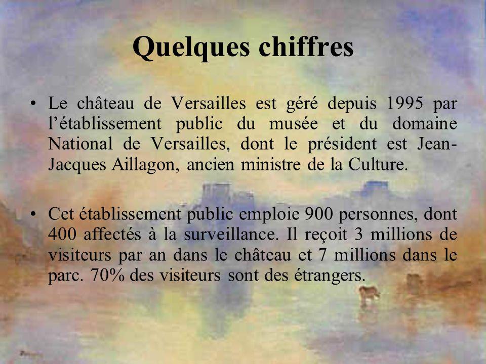 Quelques chiffres Le château de Versailles est géré depuis 1995 par létablissement public du musée et du domaine National de Versailles, dont le prési