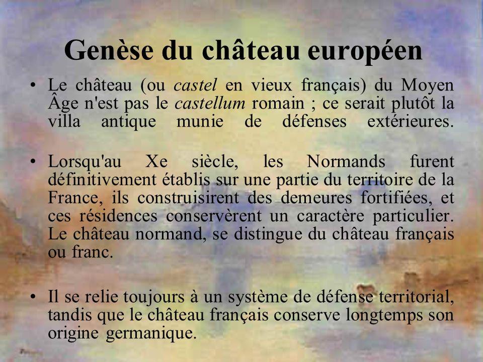 Genèse du château européen Le château (ou castel en vieux français) du Moyen Âge n'est pas le castellum romain ; ce serait plutôt la villa antique mun