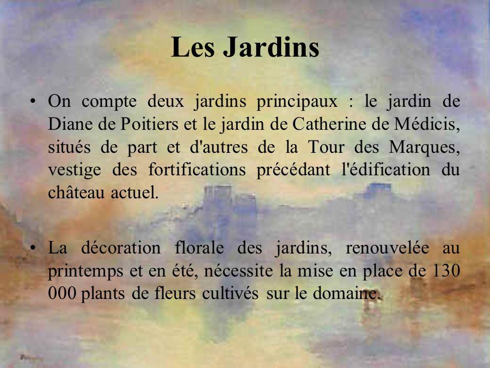 Les Jardins On compte deux jardins principaux : le jardin de Diane de Poitiers et le jardin de Catherine de Médicis, situés de part et d'autres de la
