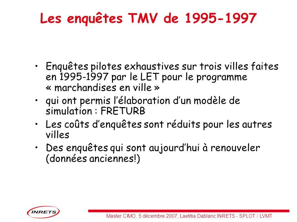 Master CIMO, 5 décembre 2007, Laetitia Dablanc INRETS - SPLOT / LVMT Les enquêtes TMV de 1995-1997 Enquêtes pilotes exhaustives sur trois villes faite