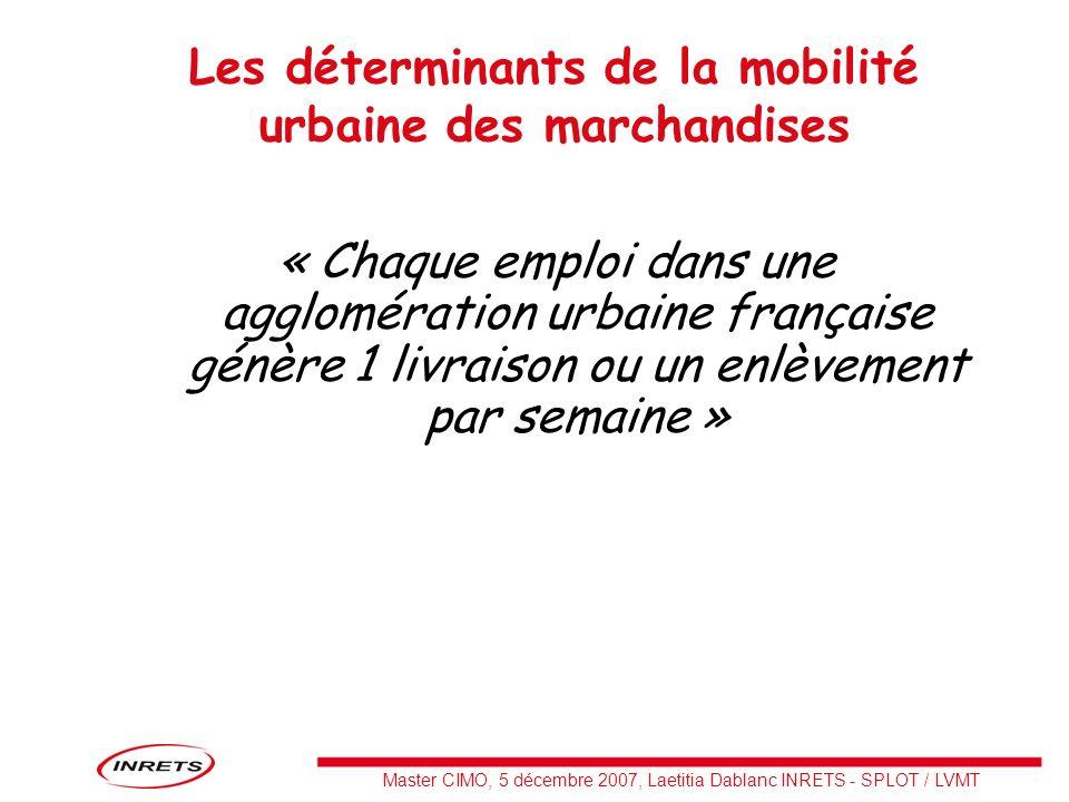 Master CIMO, 5 décembre 2007, Laetitia Dablanc INRETS - SPLOT / LVMT Les déterminants de la mobilité urbaine des marchandises « Chaque emploi dans une