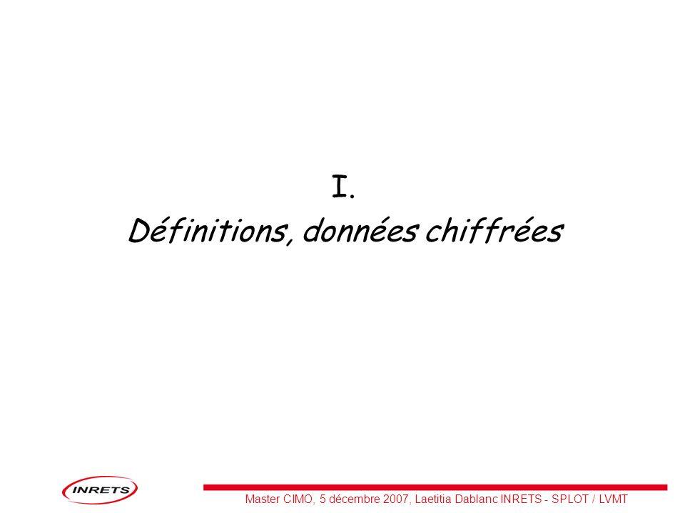 Master CIMO, 5 décembre 2007, Laetitia Dablanc INRETS - SPLOT / LVMT I. Définitions, données chiffrées