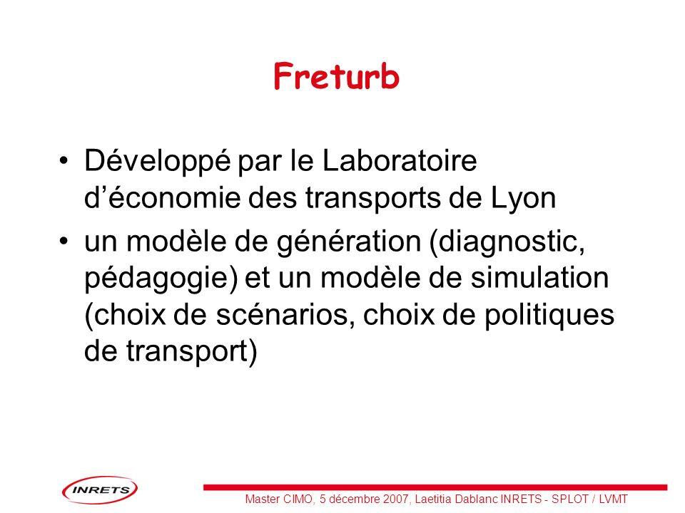 Master CIMO, 5 décembre 2007, Laetitia Dablanc INRETS - SPLOT / LVMT Freturb Développé par le Laboratoire déconomie des transports de Lyon un modèle d